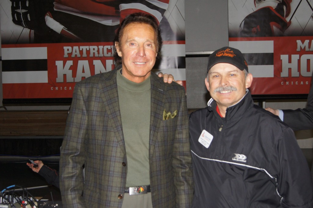 Blackhawks legend Tony Esposito and Connie Kowal at Blackhawks Roadwatch Party at the Libertyville Sports Complex April 9, 2013