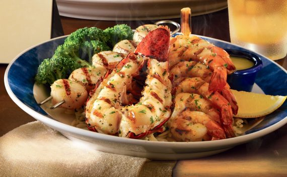 Lobster tail, sauteed jumbo shrimp and sea scallops at Dover Straits in Mundelein